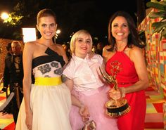 Pin for Later: Relive the Best Moments From the 2014 Emmys  Allison Williams and Lena Dunham posed with winner Julia Louis-Dreyfus at the HBO party.