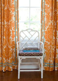 damask curtains with trim tape drapery detail quadrille fabric orange turquoise Schumacher Harmon Manor 2 Fabric