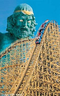 Tonnerre de Zeus roller coaster at Parc Astérix in Plailly, France. A large statue of Zeus, complete with floral underwear, is featured close by. It straddles both sides of the queue which means patrons can look directly up at Zeus' underwear. The Theme amusement park is based on the stories of Asterix.