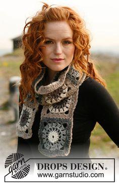 New Crochet Granny Square Shawl Pattern Drops Design Ideas Crochet Square Patterns, Crochet Amigurumi Free Patterns, Crochet Squares, Free Crochet, Free Knitting, Knitting Patterns, Drops Design, Point Granny Au Crochet, Granny Square Scarf