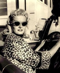 Jane Russell and her Wild Leopard Sunglasses!! Jane Russell, Leopard Coat,  Vintage be377fcbff0a