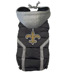 Official  New Orleans SAINTS Puffer Vest Jacket in color black sizes S-XXXL