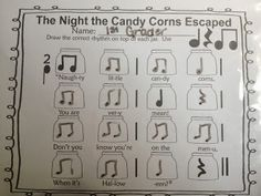 The Night the Candy Corns Escaped - rhythm activity-- use the song described in the comments!!