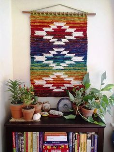 Malabrigo RASTA Mountain and Mesa wall hanging by Susan E. Kennedy The Mountain and Mesa wall hanging was inspired by the rugged beauty of southwestern Colorado. Crochet Motifs, Crochet Art, Tapestry Crochet, Crochet Patterns, Crochet Ideas, Crochet Designs, Quilt Patterns, Crochet Wall Hangings, Crochet Home Decor