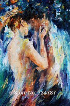 Hand geschilderd naakt olieverfschilderij naakt canvas kunst liefde van man en vrouw paletmes voor slaapkamer muur foto's(China (Mainland))