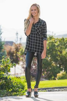 Checkered Black and White Top