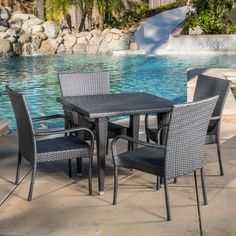 Outdoor Delani 5-piece Wicker Dining Set by Christopher Knight Home, Patio Furniture