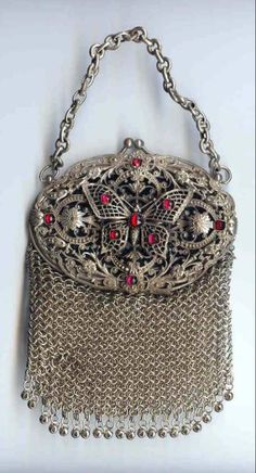 Exquisite 1800's Ruby Jeweled Butterfly Silver Mesh Chatelaine Purse