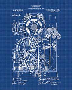 Motorcycle blueprint art print letters and words and images printing press patent 1914 patent art print by visualdesign malvernweather Images