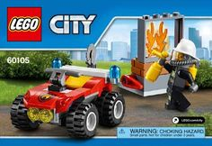 View LEGO instructions for Fire ATV set number 60105 to help you build these LEGO sets Lego City Fire, Lego Fire, Lego City Sets, Lego Sets, Lego City Garage, Lego Boxes, Lego City Police, All Lego, Lego Creator