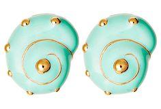 Light Blue Shell Earrings on OneKingsLane.com