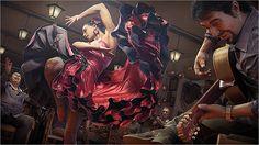 Zbrushと3dsMaxと無料の人物CGモデル生成ソフトMakehuman等で制作された、描き込みと物量が物凄い静止画作品『Flamenco』。制作過程の分かる簡単なメイキング付き!