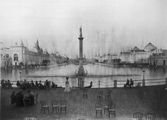 The lagoon built for the 1898 Trans-Mississippi Exposition in Omaha, featured a beautiful fountain and monument at one end.