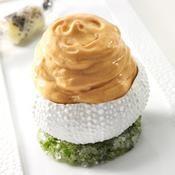 Châtaigne de mer langues et écume d'oursins, fine mousseline d'œufs de poule - une recette Crustacés de fêtes et saumon - Cuisine