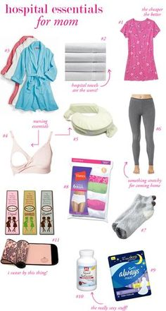Could also use as ideas for what to take a friend who has just given birth. -Hospital Packing List for Baby & Mom *i get a kick out of the leggings. The giant hospital pads definitely need something a lot roomier to hide in hahahaha