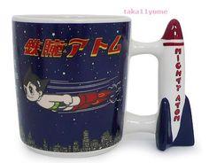 NEW Tezuka Osamu World Astro Boy Mighty Atom Coffee Mug Pottery Mug Rocket Japan