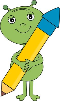 Alien Holding a Big Pencil Clip Art - Alien Holding a Big Pencil Image School Themes, Outer Space, Maths, Bart Simpson, Pikachu, Pencil, Clip Art, Big, Cake