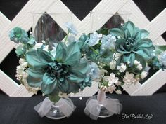 Dark Teal Hand Decorated Glasses for Bride & Groom Reception Wedding Toast - One of a Kind by Bridal Loft on Etsy