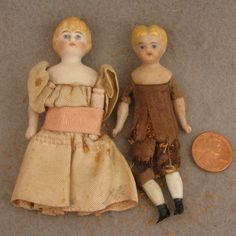 "TLC Pair of 3.25"" ABG & 4"" Kling Bisque Doll House Dolls"