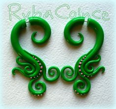 Faux  White Polymer Clay Earrings by RybaColnce on Etsy, $26.00