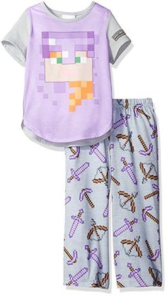 6ac3d9566658 Minecraft Girls  Little Girls  Minecraft Short Sleeve Long Leg Pajama Set