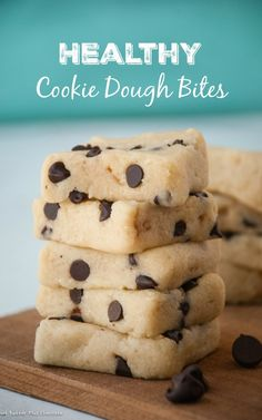 Healthy Chocolate Chip Cookie Dough Bites — Peanut Butter Plus Chocolate Healthy cookie dough that's completely safe to eat! Healthy Chocolate Chip Cookies, Chocolate Chip Cookie Dough, Healthy Cookies, Healthy Sweets, Healthy Dessert Recipes, Healthy Chocolate Snacks, Chocolate Protein, Chocolate Chips, Easy Healthy Deserts