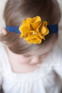 Mustard Yellow Felt Flower with Navy Blue Lace Headband $6.95 + 2.25 (.50 with another item), Maple Sugar Lane