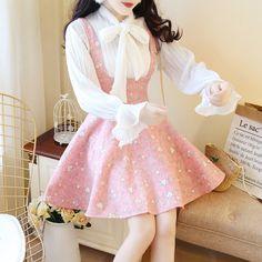 Sweet princesses bowknot blouse + braces skirt two pieces – kawaiimoristore lolita fashion, kawaii Pastel Fashion, Kawaii Fashion, Lolita Fashion, Cute Fashion, Asian Fashion, Girl Fashion, Fashion Beauty, Fashion Styles, Style Ulzzang