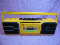 Vintage Sony Sports Boombox Yellow Cassette Player Boom Box Radio CFS-950 Japan