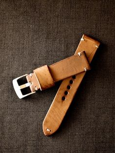 """Luther"" English tan tapered handmade leather watch strap. Made in Australia."