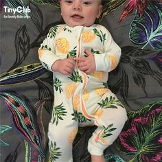 Infant Jumpsuit Long Sleeves Floral Romper Baby Boy Girl Clothes Tiny Cottons New Born Toddler Onesie Overall Outfit Pajamas #BabyboyOveralls https://presentbaby.com