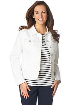 You can't go wrong with a White Denim Jacket! Add your favorite layering top, necklace & scarf for a great look! Christopher & Banks