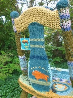 knit- and crochet-covered chair by Carol Cameron