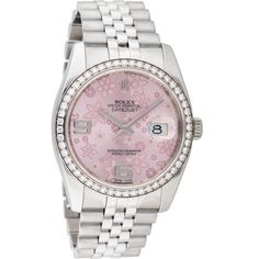 Pre-owned Rolex Oyster Perpetual Datejust Watch ($10,895) ❤ liked on Polyvore featuring jewelry, watches, accessories, bezel jewelry, flower crown, rolex watches, rolex wrist watch and 18k watches