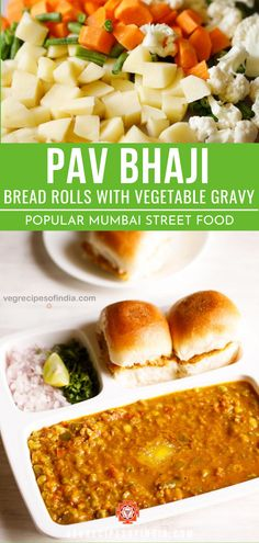 Pav Bhaji Recipe with video and step by step photos. Pav Bhaji is a popular street food from mumbai consisting of spiced smooth mashed mix vegetables, served with lightly toasted buttered bread. Veg Recipes Of India, Indian Food Recipes, Tasty Vegetarian Recipes, Curry Recipes, Healthy Indian Snacks, Rib Recipes, Steak Recipes, Pasta Recipes, Kitchens