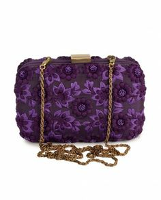 Royal Purple Clutch with Floral Pattern - Karieshma Sarna