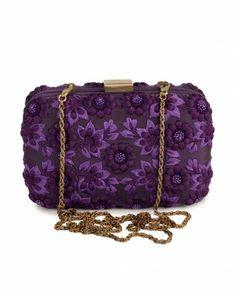 Royal Purple Clutch with Floral Pattern - Karieshma Sarna