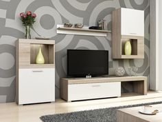 Flavo Entertainment Unit for TVs up to Selsey Living Bulb Included: No Living Room Tv Unit Designs, Bedroom Cupboard Designs, Interior Design Living Room, Modern Furniture Sets, Living Room Furniture, Diy Furniture, Karton Design, Country Cupboard, Front Rooms