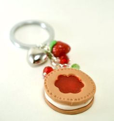 keychain with sweet marmalade and cream biscuit