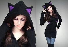 Hey, I found this really awesome Etsy listing at http://www.etsy.com/listing/124931360/long-cat-hoodie-black-violet-ears-kawaii