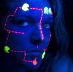 Ahh so creative!  PAC man rave makeup