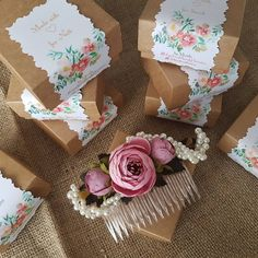 Gift package floral design flower peony peonies wedding accessories handmade