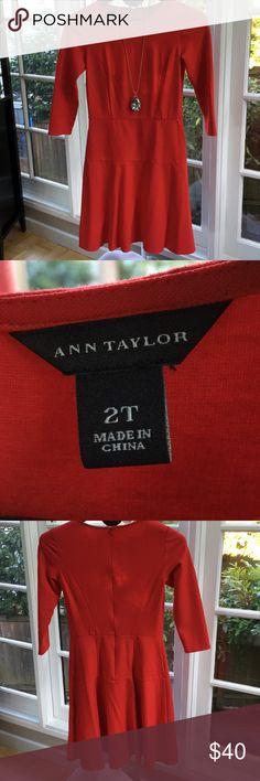 Beautiful Ann Taylor red skater dress Beautiful Ann Taylor red skater dress with three-quarter length sleeves Ann Taylor Dresses