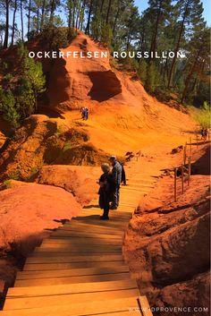 Die Ockerfelsen im Luberon / Frankreich gehören mit zu den schönsten Sehenswürdigkeiten der Provence. Im regionalen Naturpark Luberon, nur etwa 60 km von Avignon und Aix en Provence entfernt, befinden sich die weltbekannten Ockerberge der Provence. Je nach Tageszeit erstrahlen Sie in den unterschiedlichsten rot, gelb und orange Tönen mit einer beeindruckenden Farbintensität. Der Kontrast zum blauen Himmel und der grünen Vegetation unterstreicht diese Farbenvielfalt.