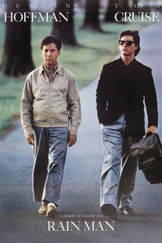 "Rain man - I'm not a big fan of Tom cruise but I don't mind his character in this film. I love Dustin Hoffman and his character Raymond is so sad, although you can't help laughing at some parts of ""Rain man"" Film Movie, See Movie, 80s Movies, Movie List, Good Movies, Great Movies To Watch, Greatest Movies, Tom Cruise, Rain Man"