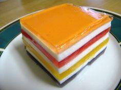 Ribbon Jello Salad From Mrs. B Recipe - Genius Kitchen Lemon Jello, Strawberry Jello, Jello Recipes, Dessert Recipes, Salad Recipes, Healthy Desserts, Just Desserts, Rainbow Jello, Desert Recipes