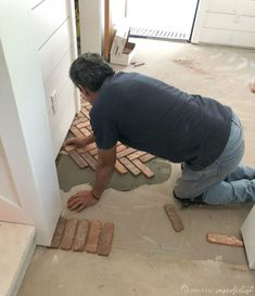 brick flooring Thinking about putting a brick floor in your home Read this post for information about where to buy brick tiles, cost, sealer, and more! Brick Tile Floor, Brick Floor Kitchen, Brick Pavers, Brick Flooring, Diy Flooring, Kitchen Flooring, Farmhouse Flooring, Kitchen Tiles, Basement Ceiling Painted