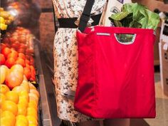 Custom Shopping Bags from ADK Packworks-great for daily food shoppers like me who ride their bike to the grocery store!