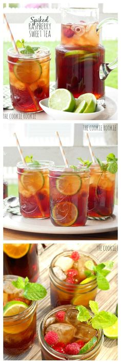 Spiked HOMEMADE Raspberry Sweet Tea is the perfect refreshing cocktail for spring and summer! YUM! - The Cookie Rookie