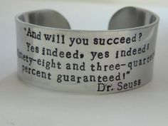 Hand Stamped, Personalized Women's Wide Silver Cuff Bracelet with Dr Suess Quote on Etsy, $25.00